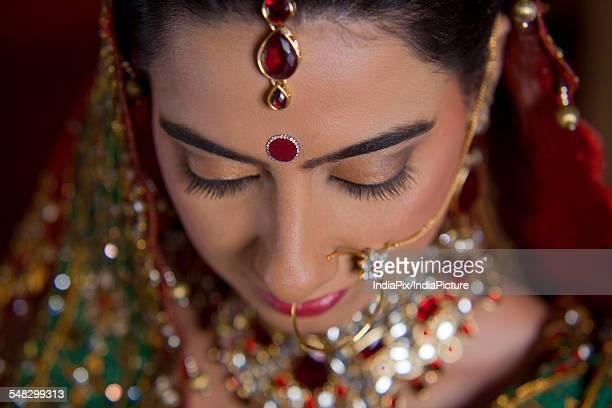 Close up of beautiful brides bindi
