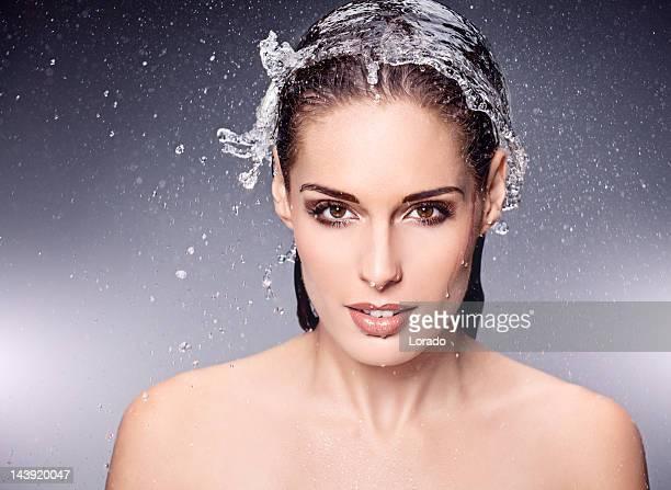 close up of beautiful woman having water cap on hair