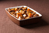 Close up of beef casserole with carrots