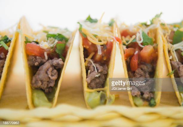 Close up of beef Mexican tacos