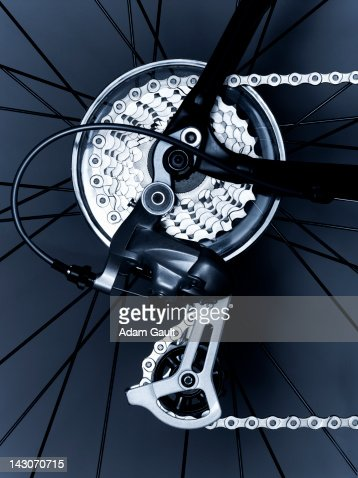 Close up of bicycle gears and chain
