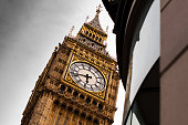 Close up of Big Ben from below.City Of Westminster,Elizabeth II,Cultures,Igniting,London - England,Clock Tower,Travel,England,Clock,Street Light,Tourism,Footpath,Monument - London,Westminster Bridge,C