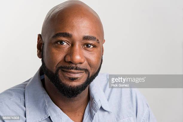 Close up of black man smiling