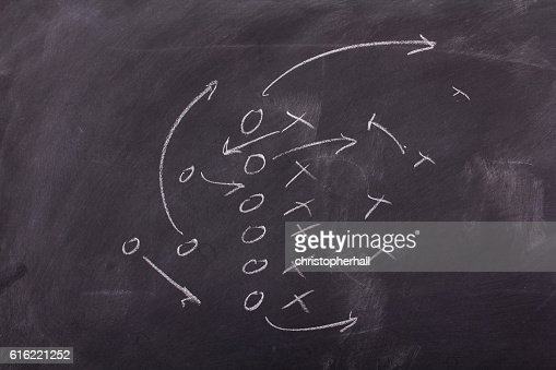 Close up of blackboard for coaching tactics : Bildbanksbilder