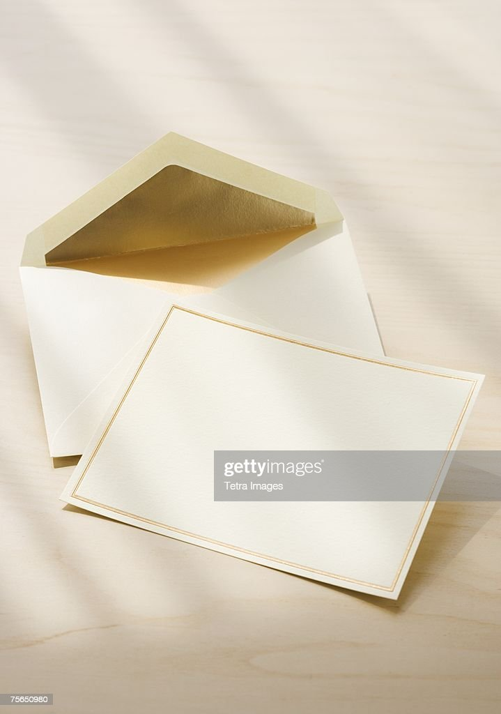 Close up of blank card and envelope