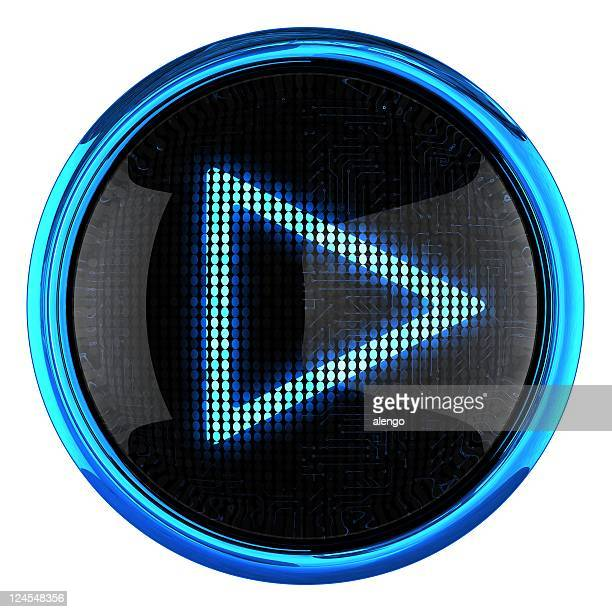 Close up of blue LED play icon