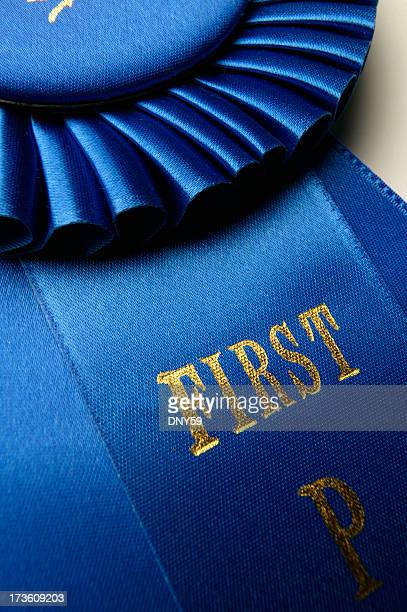 Close up of blue ribbon