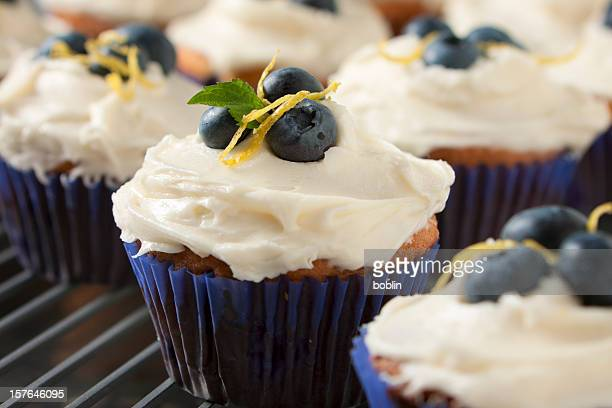 Close up of blueberry and lemon cupcakes in blue bun cases
