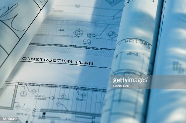 Close up of blueprints
