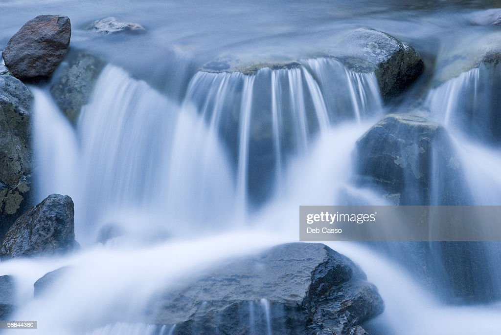 Close up of blurred water rushing in stream