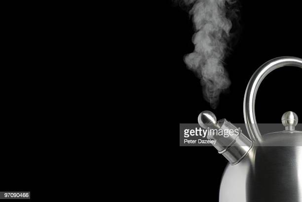 Close up of boiling kettle with copy space