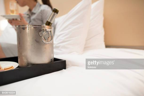 Close up of bottle and ice bucket.