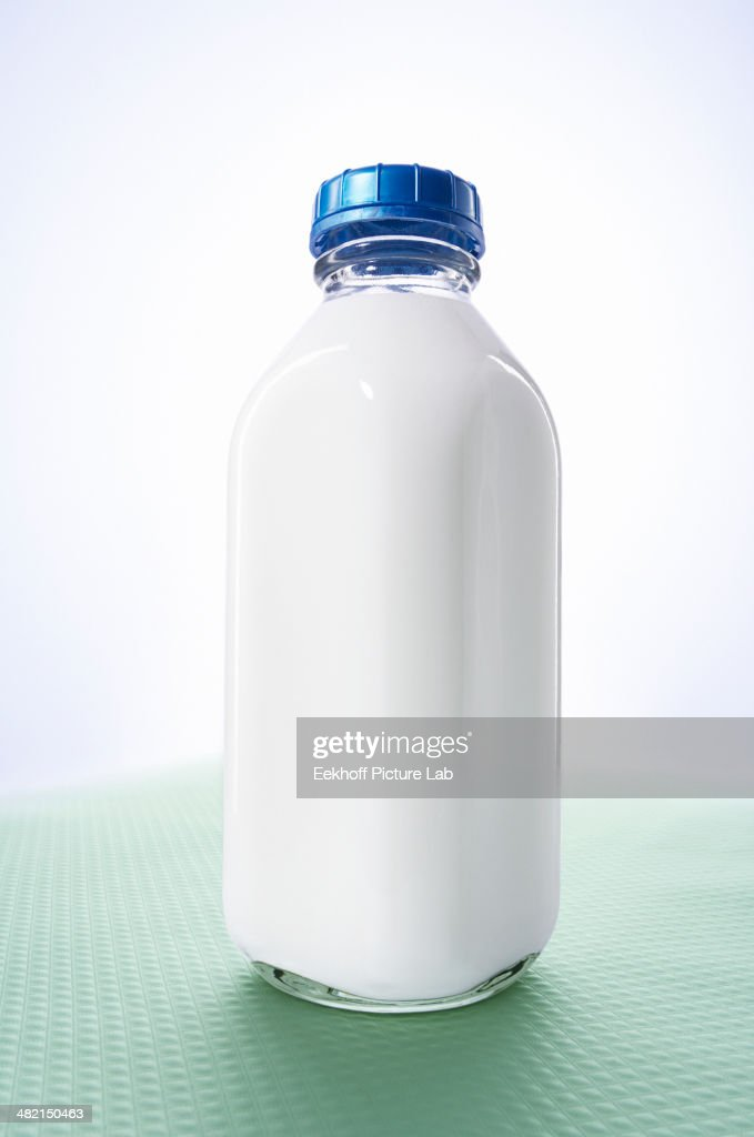Close up of bottle of milk