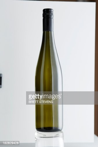 Close up of bottle of Riesling wine