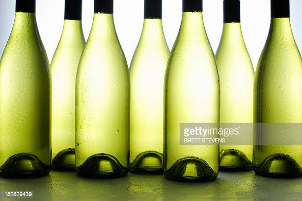 Close up of bottles of wine