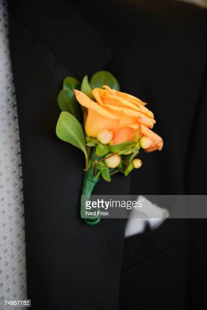Close up of boutonniere on lapel