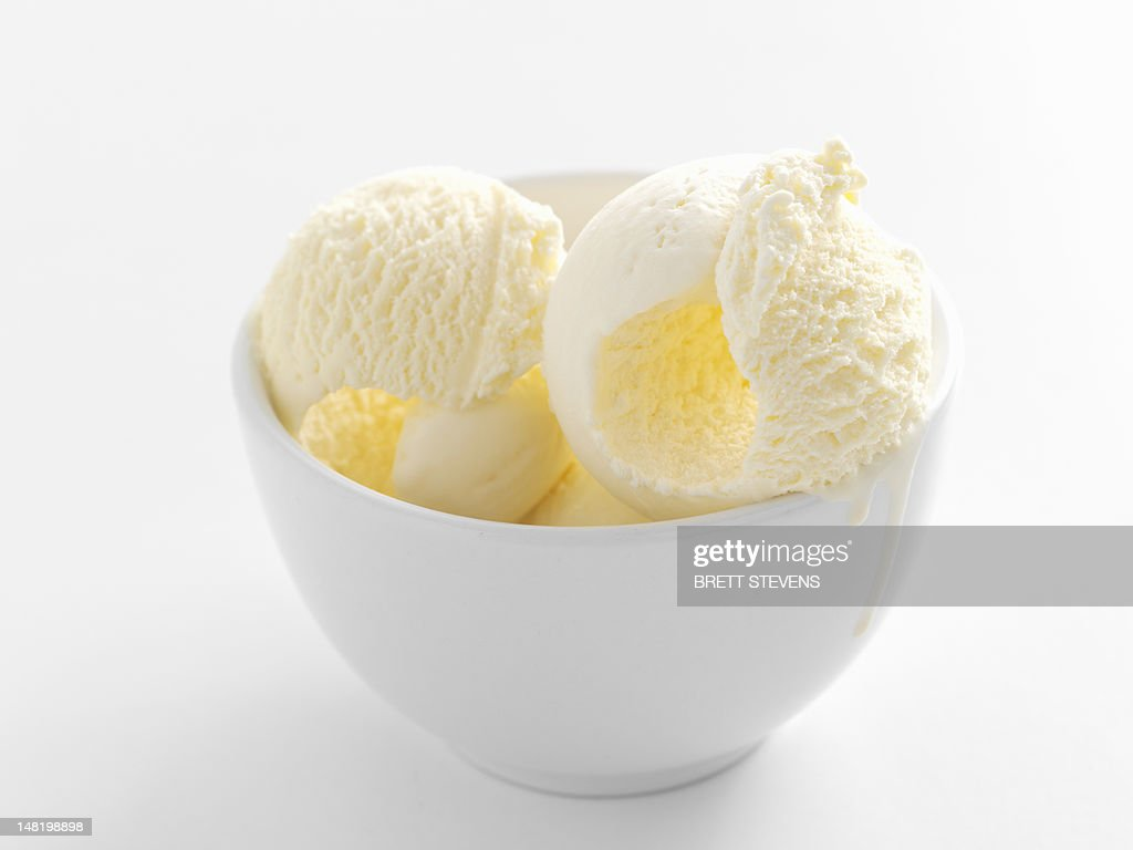 Close up of bowl of ice cream