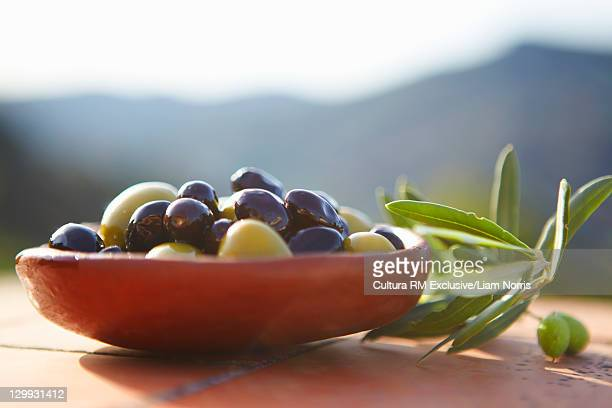 Close up of bowl of olives