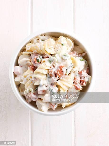 Close up of bowl of pasta carbonara