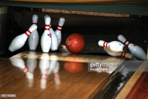Close up of Bowling Ball hitting the Pins at a Bowling Alley