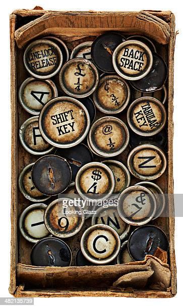 Close up of box of antique keys