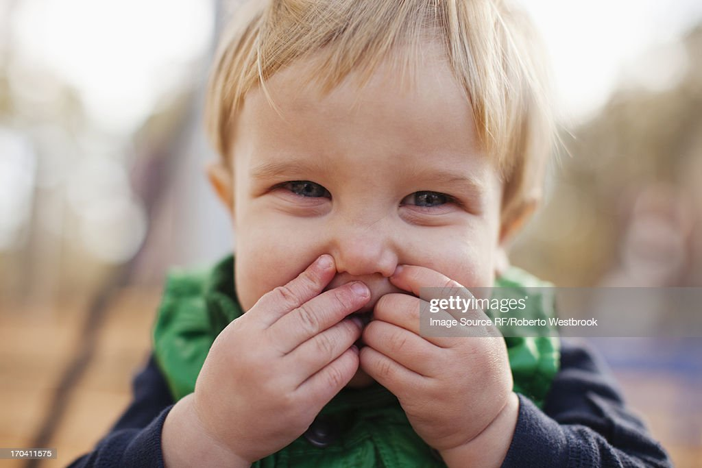 Close up of boy making face : Stock Photo