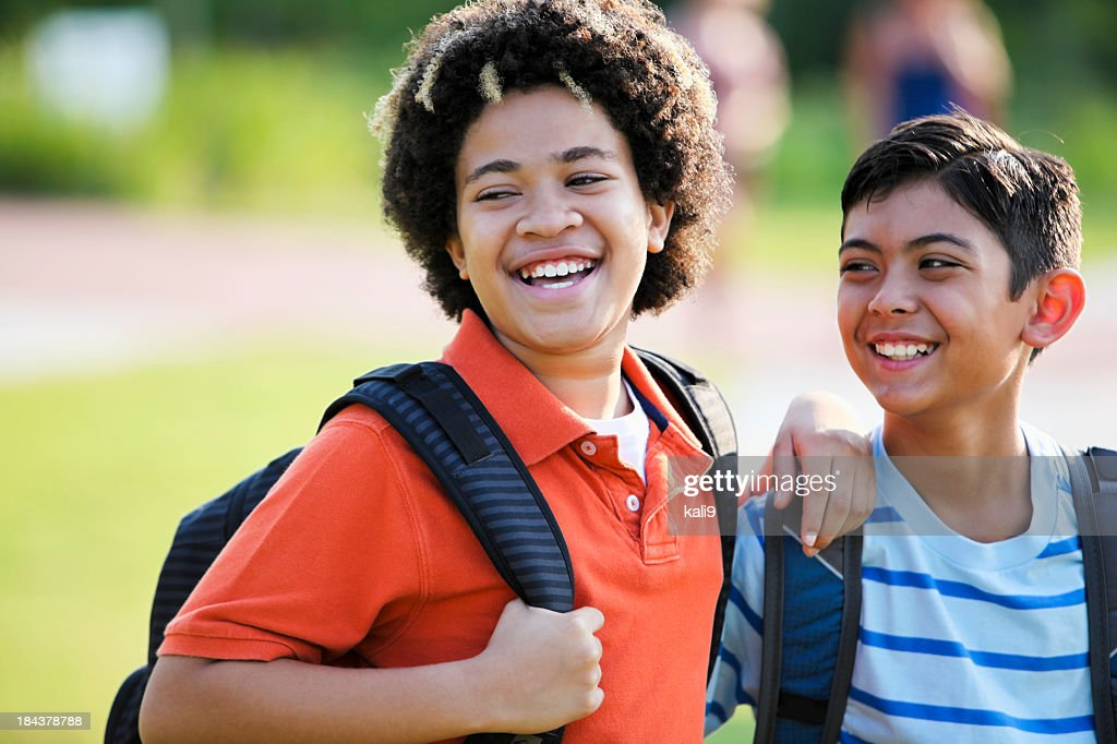 Close up of boys at school : Stock Photo