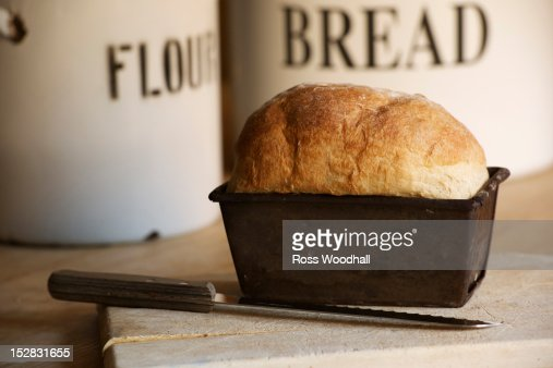 Close up of bread in loaf tin