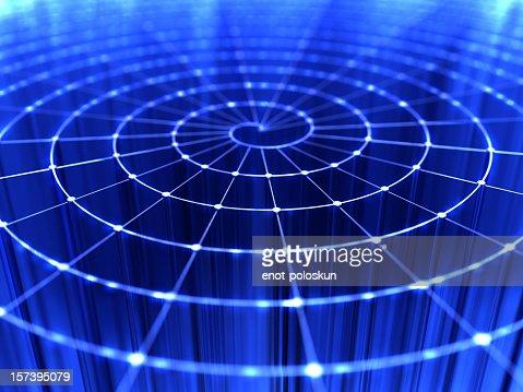 Close up of bright blue web of light beams