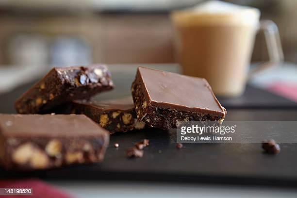 Close up of brownies on table