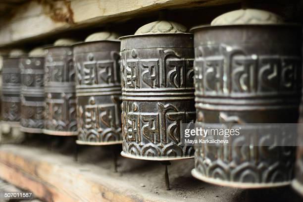 Close up of Budhhist prayer wheels