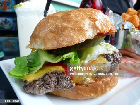 Close up of burger, Seattle : Stock Photo
