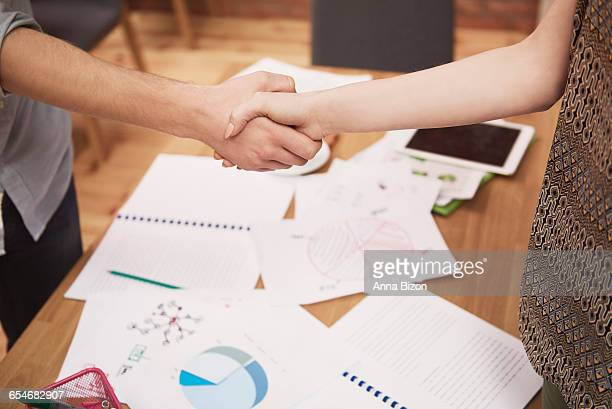 Close up of business handshake in the office. Rzeszow, Poland