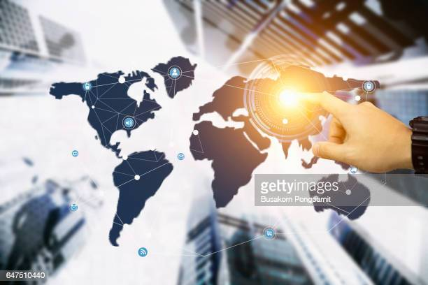 Close up of businessman touching with finger network concept on screen