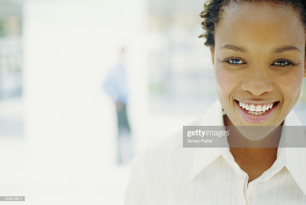 Close up of businesswoman's smiling face : Stock Photo