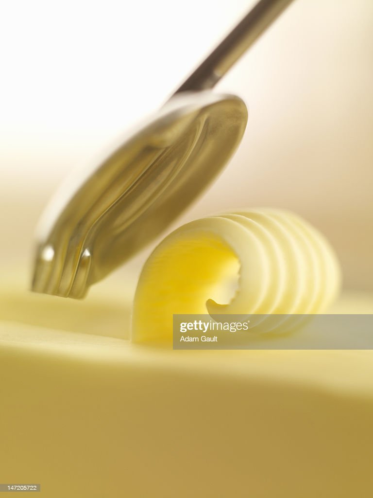 Close up of butter curl : Stock Photo