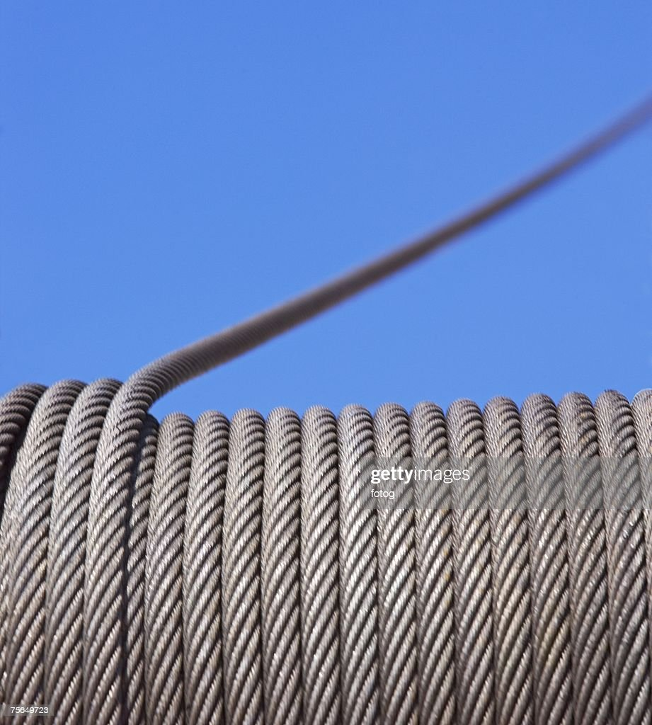 Close up of cable on winch