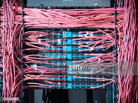 Close up of cables and connectors in computer server room