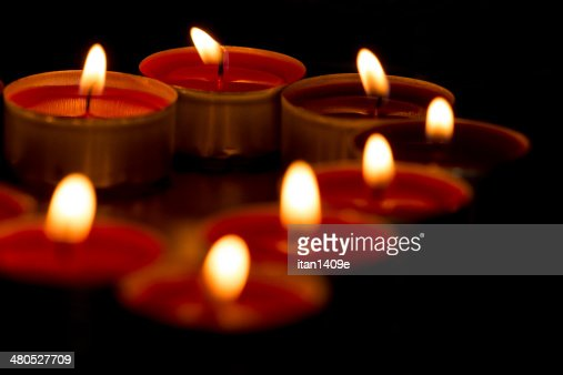 Close up of candles in form of heart : Stock Photo