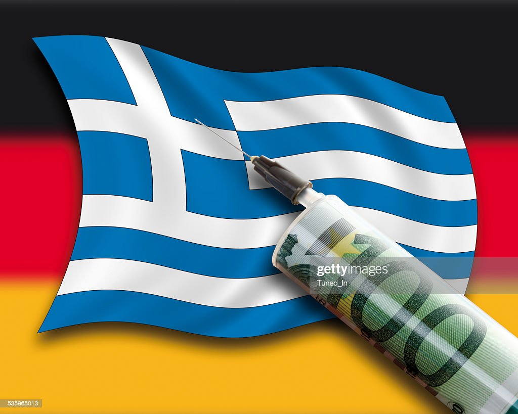 Close up of cash injection on greek flag, german flag : Stock Photo