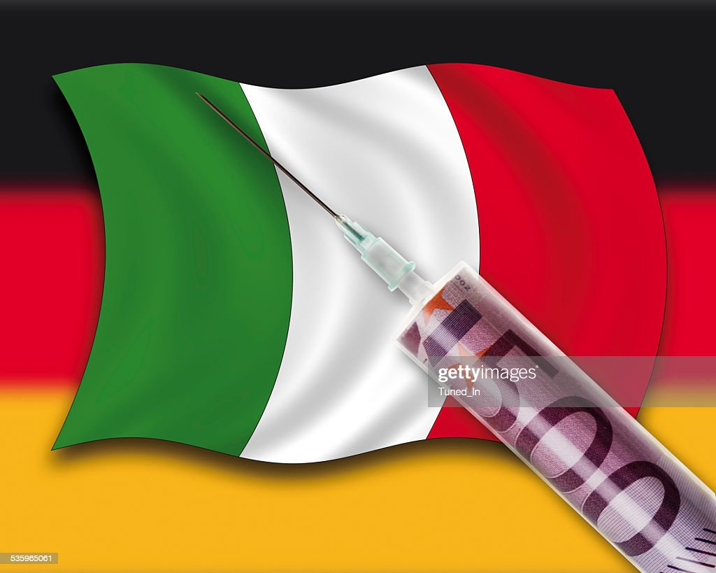 Close up of cash injection on italian flag, german flag : Stock Photo