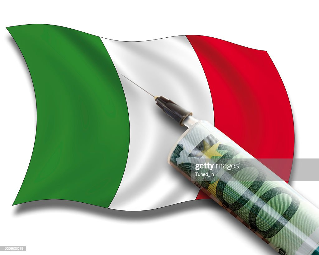 Close up of cash injection on italian flag : Stock Photo