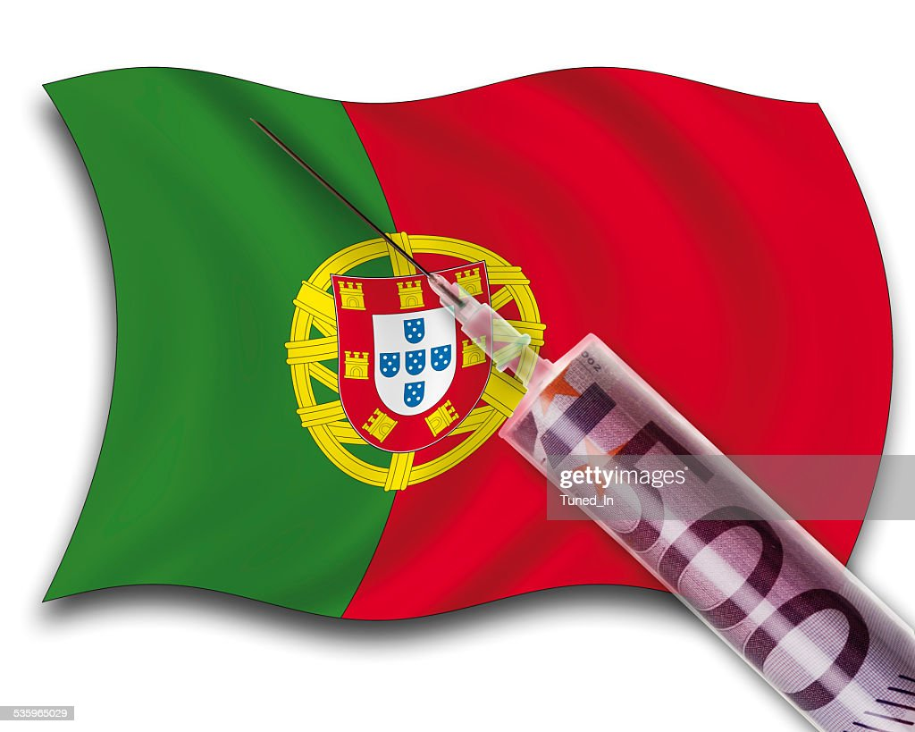Close up of cash injection on portuguese flag : Stock Photo