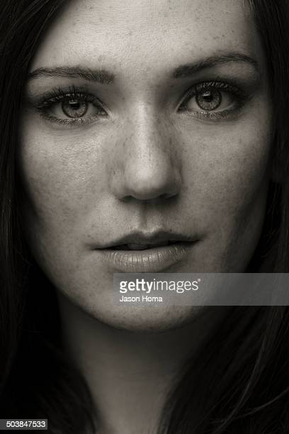 Close up of Caucasian woman's face