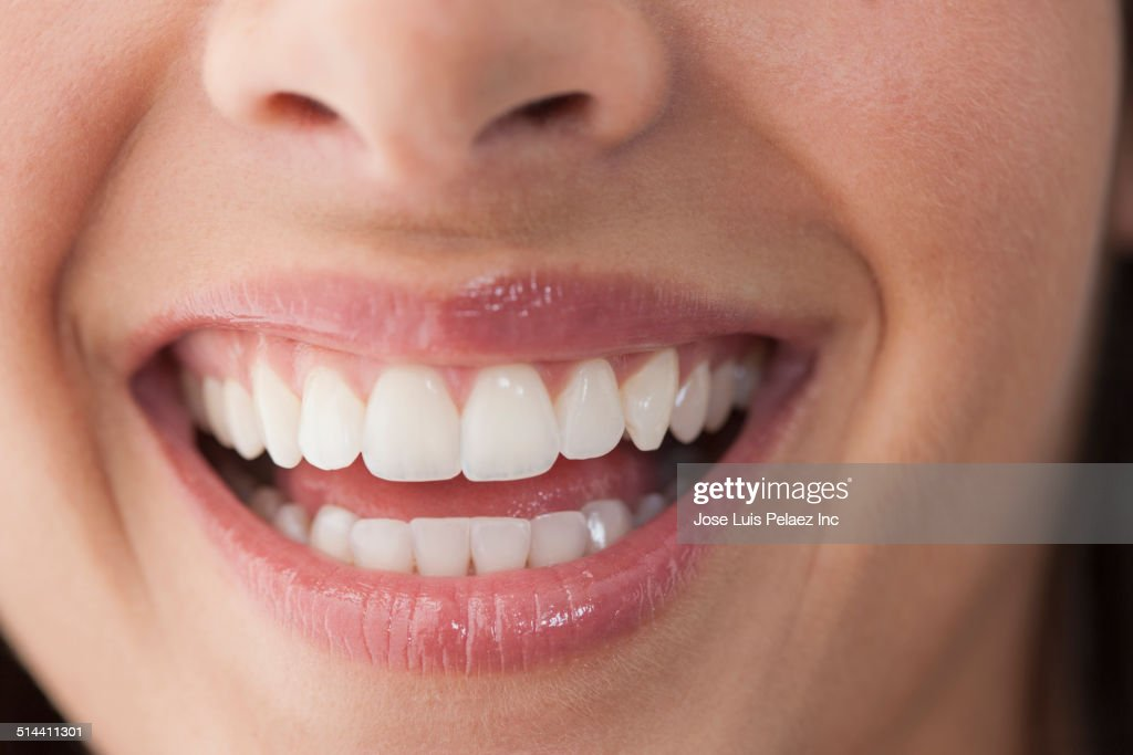 Close up of Caucasian woman's smile
