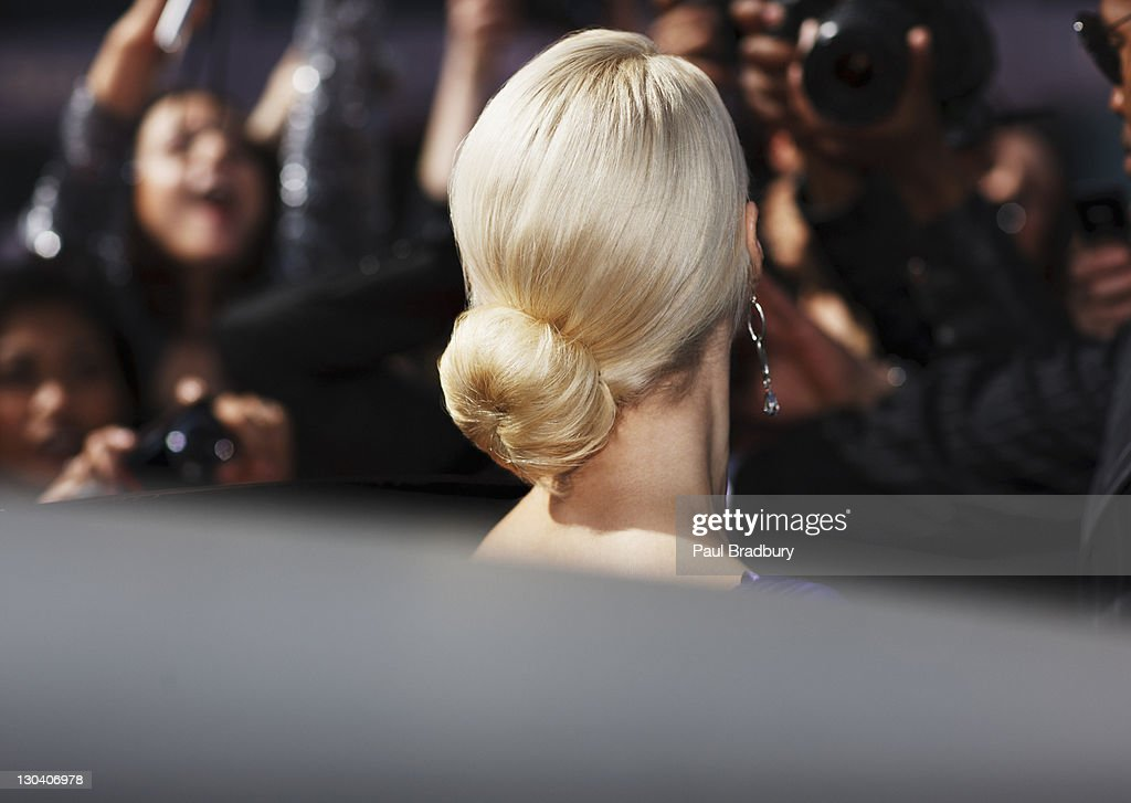 Close up of celebrity's hairstyle : Stock Photo