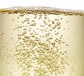 Close up of champagne bubbles