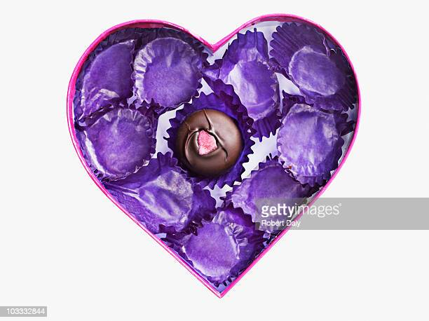 Close up of chocolate and empty wrappers in heart-shape box