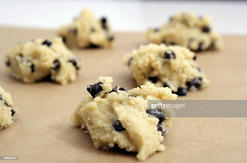 Close up of chocolate chip cookie dough