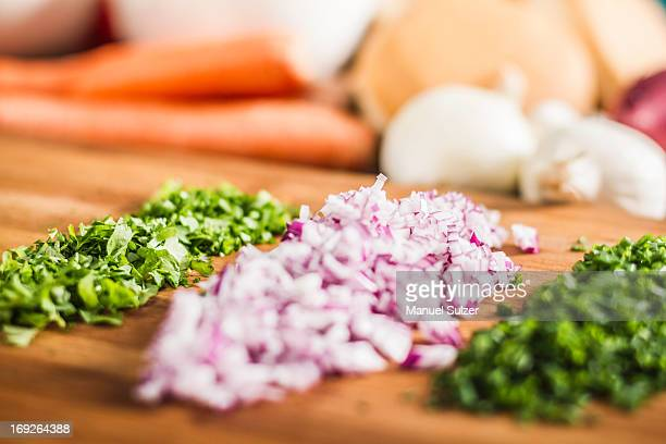 Close up of chopped chives and onions